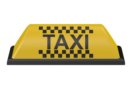 chequerboard: Yellow taxi car sign isolated on white background