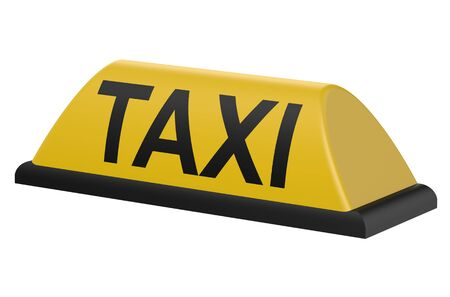 Yellow taxi sign isolated on white background Stock Photo