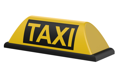 Yellow taxi car signboard isolated on white background