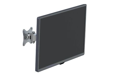 flat panel monitor: TV set with TV wall mount isolated on white background