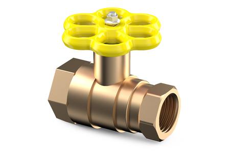 sanitary engineering: yellow valve isolated on white background