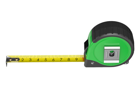 tape measure: green measuring tape isolated on white background Stock Photo