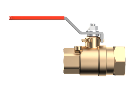 stopcock: red сoupling Ball Valve isolated on white background