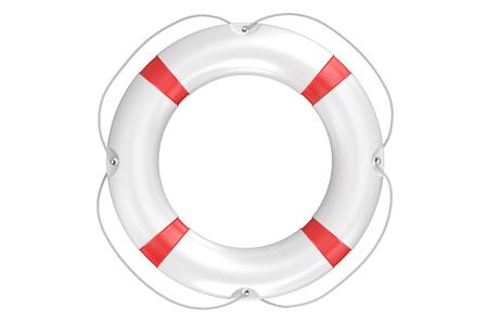 ring buoy: single lifebuoy closeup isolated on white background