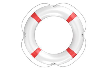 single lifebuoy closeup isolated on white background