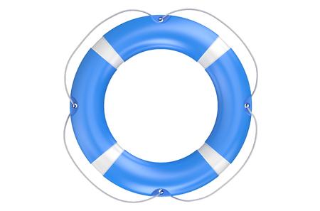 single blue lifebuoy closeup isolated on white background