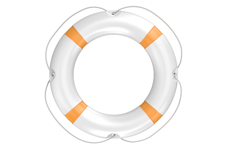 ring buoy: lifebuoy closeup isolated on white background