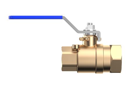 stopcock: blue ball valve isolated on white background Stock Photo