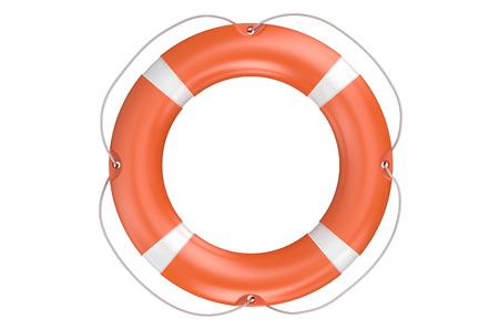 single orange lifebuoy closeup isolated on white background Stock Photo
