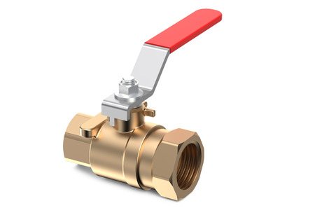 shutoff: red ball valve isolated on white background