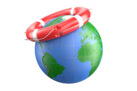 buoyancy: Lifebuoy and earth isolated on white background