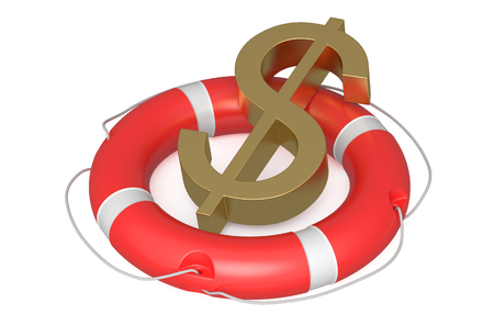 financial emergency: dollar on lifebuoy isolated on white background