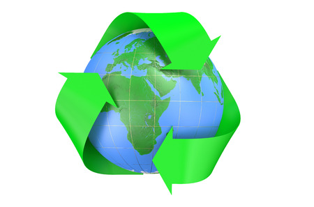 reusing: Recycling World Concept isolated on  white background