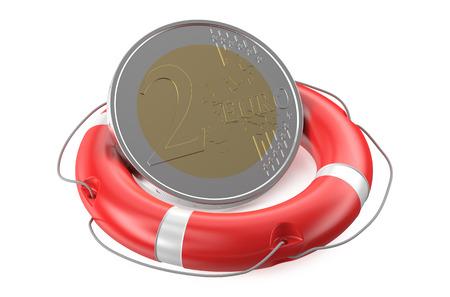 life belt: Life belt with euro sign isolated on white background Stock Photo