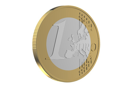 1 euro: one euro coin isolated on white background Stock Photo