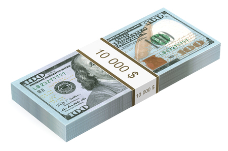 paper wad: pack of dollars closeup  isolated on white background