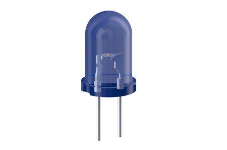blue LED light emitting diode isolated on white background