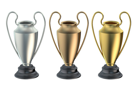 gold silver bronze: Cups or trophies gold, silver, bronze isolated on white background