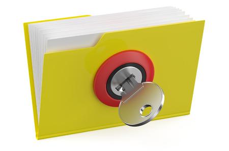 folder icon: Yellow folder icon with key isolated on white background