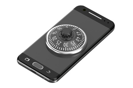 combination lock: smartphone with combination lock isolated on white background