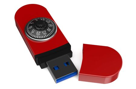combination lock: red flash drive with a combination lock isolated on white background Stock Photo