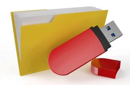flash drive: folder icon with USB flash drive isolated on white background