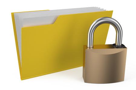 folder icon: Folder icon with padlock isolated on white background