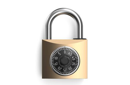 safest: Combination lock closeup isolated on white background Stock Photo