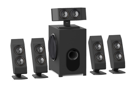 subwoofer: loudspeakers with subwoofer isolated on white background Stock Photo