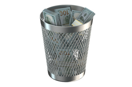 regress: Trash bin with packs of dollars isolated on white background Stock Photo