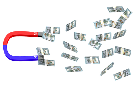 wad: dollars and magnet  isolated on white background