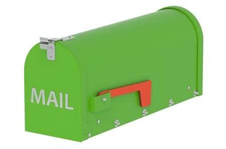 metal mailbox: Green Mailbox isolated on white background