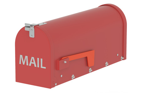 mail slot: Red Mailbox isolated on white background Stock Photo