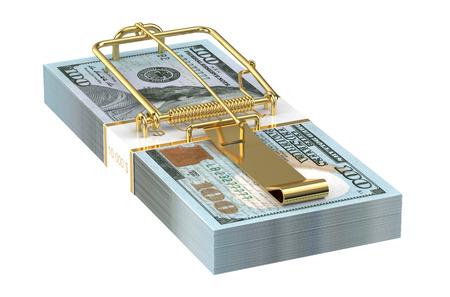 investmen: Dollars Money Trap isolated on white background Stock Photo