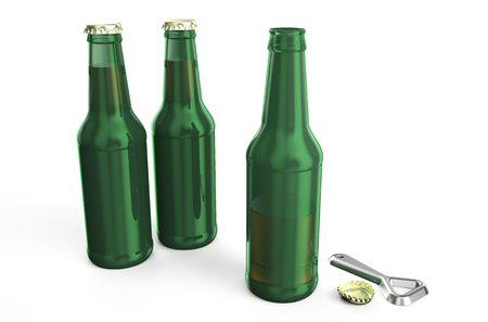 opener: green beer bottles with opener isolated on white background