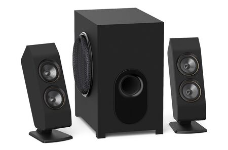 21: loudspeakers with subwoofer system 2.1 isolated on white background