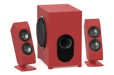 subwoofer: red loudspeakers with subwoofer system 2.1 isolated on white background