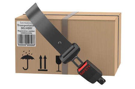 safety delivery concept, safety belt with cardboard box Stock Photo