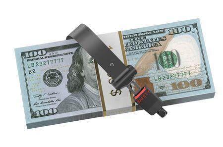 cinturon seguridad: seguridad concepto de dinero, d�lares con cintur�n de seguridad