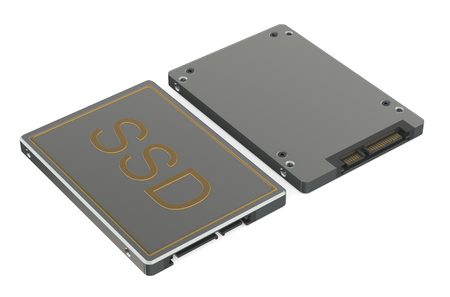 at the bottom of: Solid state drive SSD top and bottom views