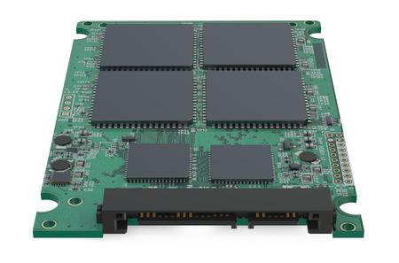 SSD의 회로 기판은 흰색 배경에 고립