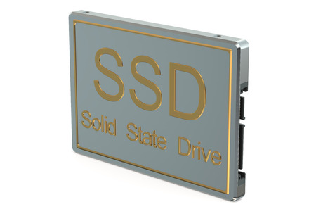 ssd: Solid state drive SSD closeup isolated on white background Stock Photo