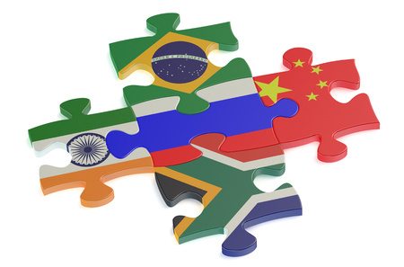organised: BRICS concept with puzzle isolated on white background Stock Photo