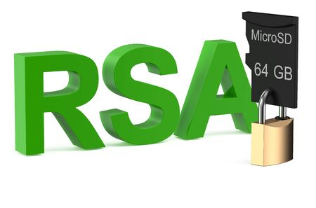 safest: RSA concept with lock isolated on white background