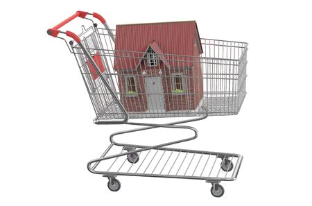 buyer: house in shopping cart isolated on white background