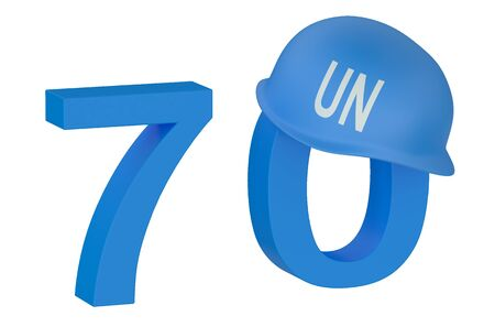 the united nations: Naciones Unidas 70 a�os concepto aislado en el fondo blanco Foto de archivo