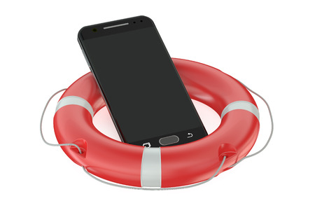 lifebelt: Smartphone with Red Lifebelt isolated on white background