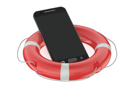 lifebelt: Smartphone with Red Lifebelt isolated on white background