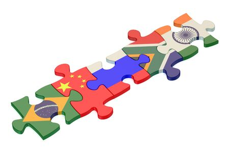 organised: BRICS summit concept with puzzle isolated on white background Stock Photo