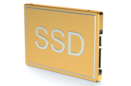 ssd: Golden Solid State Drive SSD isolated on white background
